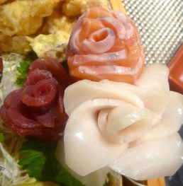 Sashimi roses are made with lightly torched salmon, ahi and super white tuna. You might think that fish roses aren't that romantic, but I will disagree forever, be still my beating heart.
