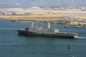 The Navy's newest amphibious transport dock ship USS Somerset passes Naval Air Station North Island as it makes it way to its new homeport at Naval Base San Diego on April 21, 2014. The ninth San Antonio-class amphibious transport dock ship, Somerset is named in honor of the crew and passengers of United Airlines Flight 93 that crashed near Shanksville, Pa., in Somerset County during the 9/11 terrorist attacks.