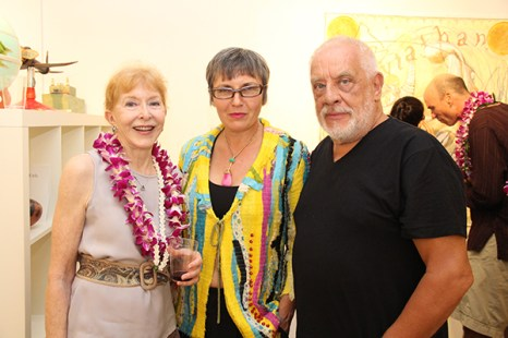 From left to right, Roberta Griffiths, Louda and Gilles Larrain