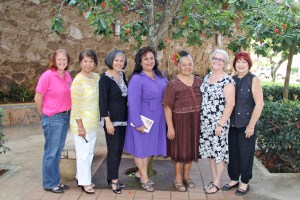 Member of the Committee on the Status of Women, from left to right, Lisa Ellen Smith (representative for the state committe), Liza Trinidad, Vice Chair Edie Ignacio Neumiller, Chair Regina Carvalho, Ulii Castor, Sharon Lasker and Kathy Crowell. Not pictured are Jade Battad and Cherie Mooy.