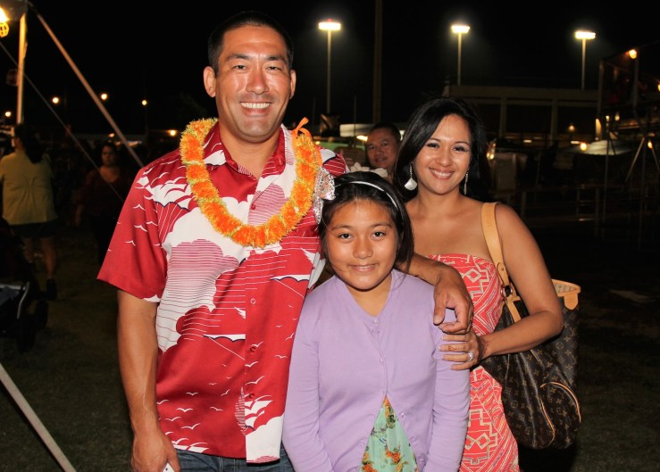 The Kawakami 'ohana: Derek and his wife, Monica, and their daughter Hailee.