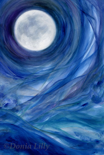 Donia Lilly Moontides II Acrylic Painting