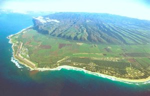 An aerial view of the Pacific Missile Range Facility on Kaua'i's Westside.