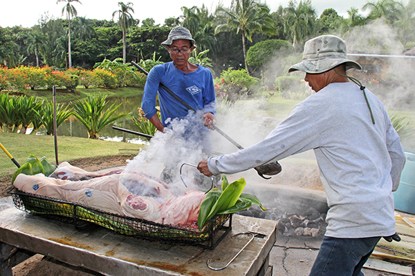 Mariano Sampilo, left, places heated lava rocks inside the pig at Smith Family Garden Luau, with assistance from Fernando Ruiz.