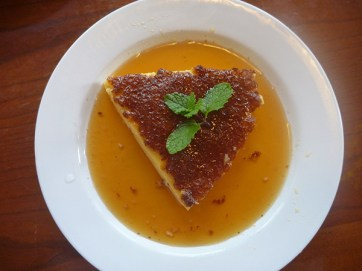 My new and true love, the Caramel Flan. Cool, smooth, sweet — it is the flan by which I will rate all future flans.