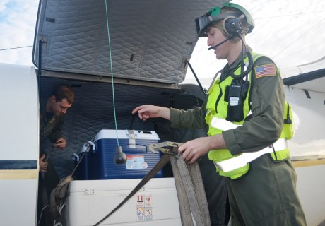 From left, PMRF Naval Aircrewmen Johnathan Weiss and Ian Gottron tie down and secure the coolers containing the Laysan eggs aboard the C-26. Photo by Stefan Alford
