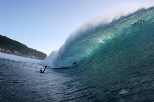 Kaua'i's Danny Fuller rides the blue room at Pipeline, O'ahu. Photo by Bruno Lemos