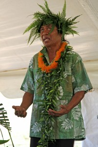 Kumu hula Kaua'i Iki chants at a King Kaumuali'i celebration in February.