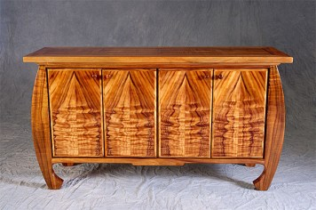 A piece of furniture made with curly koa, by Frank Pullano.