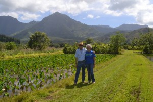Gaylord and Carol Wilcox in Wai'oli Valley, Kaua'i's North Shore. Photo courtesy of Jennifer Luck.