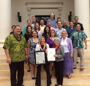 The National Physical Activity Plan and Kaua'i's elected officials recognized the Get Fit Kaua'i coalition's achievements under Bev Brody's leadership. Back row, left to right, Gary Hooser, Tommy Noyes, Pat Griffin and Kilipaki Vaughn; fourth row, Michelle Jenkins, Ross Kagawa, Mel Rapozo and Arryl Kaneshiro; third row, Leanora Kaiaokamalie, Marie Williams, Missy Hoesel, Eva LaBarge, Lee Steinmetz and Mason Chock; second row: Kathy Leonard, Alice Baptista and Sue Smith; front row: Mayor Bernard Carvalho Jr., Bev Brody and JoAnn Yukimura. Contributed photo