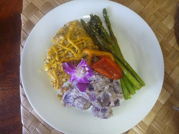 Mac-nut Crusted Chicken Breast with Okinawan sweet potatoes. Did you know that the standard mac-nut breading contains gluten? This gluten free version comes with a twist, sweet lilikoi mustard. The potatoes, made with coconut milk, are the best I've ever had.