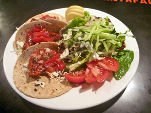The Fish Tacos is one of the more popular menu items. Almost everything in it is locally sourced, or at least from Hawai'i. You have a choice of corn or wheat tortillas. The locally caught hebi, or shortbill swordfish, is blackened and quite spicy.