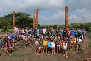 Nearly 100 students from Kamehameha Schools on O'ahu visited Kaneiolouma last October. Photo courtesy of Hui Malama O Kaneiolouma