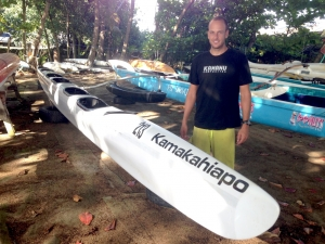 Luke Evslin and two of his high-school buddies own a company on O'ahu that produces light and fast outrigger canoes.
