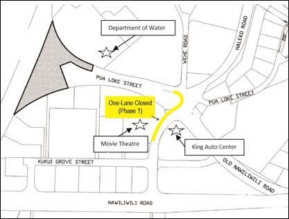 Phase 1 – One lane of Haleko Road, between Pua Loke Street and Kukui Grove Street near the Kukui Grove Cinema, will be closed for approximately one week. Two-way traffic will still be allowed through the area.