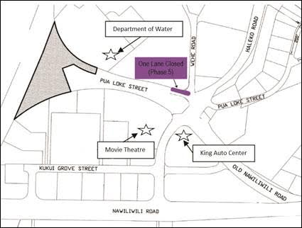 Phase 5 – One lane of Pua Loke Street, near Wehe Road, will be closed for approximately one week. Two-way traffic will still be allowed through the area.