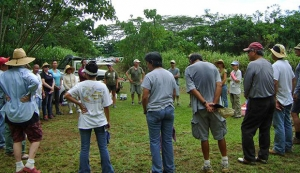 Kauai Community College faculty and staff gathered to clean up Puhi Plantation Camp Cemetery.