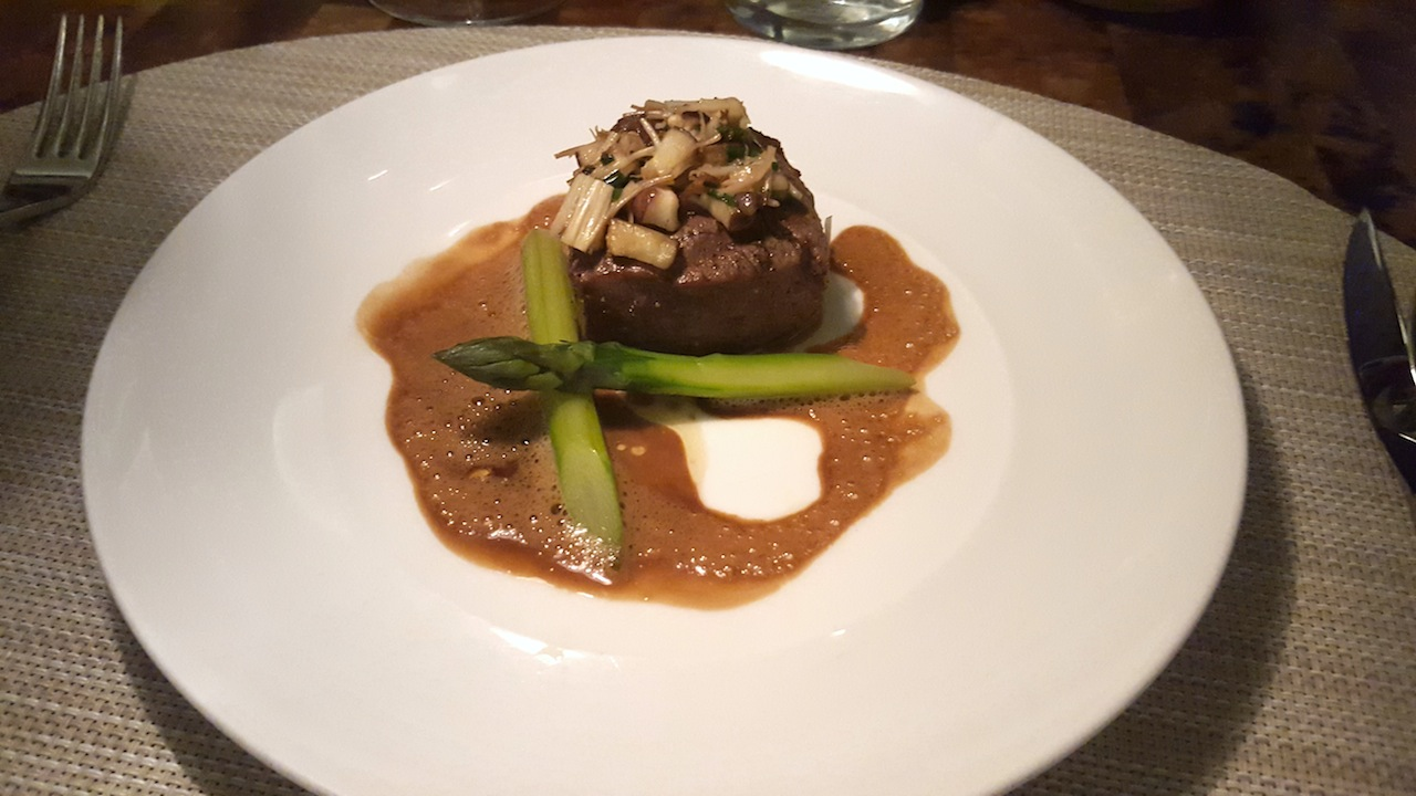 Grilled Makaweli Tenderloin with Ginger Ali'i Mushrooms and Soy Caramel Emulsion. A perfect cut of local beef topped with the cutest tiny little mushrooms. The sauce is savory and sweet, a new twist on the old sweet soy sauces. With this, we had a Blended Sonoma County Zinfandel.