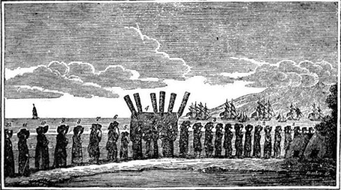 Funeral Procession of Keōpūolani. Explanation of the Engraving representing the Funeral Procession. 1. Foreigners.–2. Missionaries.–3. Favorite attendants of Keopuolani.–4. Corpse; pall-bearers the four queens of Rihoriho and two principal women.–5. The Prince and Princess.–6. The King and Hoapiri.–7. Karaimoku and his brother Boki.– 8. King Taumuarii and Kaahumanu.–9. Kuakini and Kalakua.–10. Piia and Wahinepio.–11. Kaikioeva and Keaveamahi.–12. Naihi and Kapiolani. William Richards (1825) Memoir of Keopuolani, late queen of the Sandwich Islands, Crocker & Brewster, Boston, p. Page 43 archive.org Bishop Museum The Rev. William Richards wrote this before the Hawaiian language had been put into writing, hence the names of King Kaumuali'i (Taumuarii) and others having a different spelling. This is the only known image of Kaumuali'i when he was alive.
