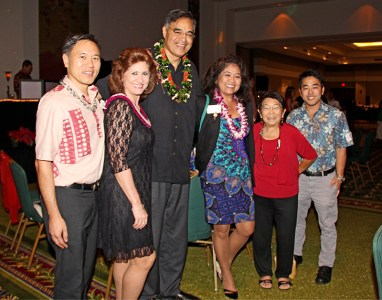 From left to right, David Nahoopii, Kaua'i Visitors Bureau Executive Director Sue Kanoho, Hawai'i Tourism and Lodging Association Mufi Hannemann, Joyce Vidinha, Sandi Kato-Klutke and Jarred Higashi, during the Kaua'i Chamber of Commerce Annual Membership Meeting at the Kaua'i Marriott Resort last December
