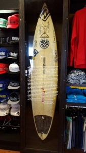 The surfboard that Andy Irons used in 2002 to clinch his first of three consecutive world titles is on display at Tamba Surf Co.