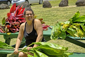 "University of Hawai'i student Francesca ""Frankie"" Koethe is seen here preparing to get the ho'ike, or test, ready at 'Anini Beach Park. Photo courtesy Ron Vave"