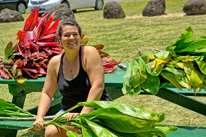 """University of Hawai'i student Francesca """"Frankie"""" Koethe is seen here preparing to get the ho'ike, or test, ready at 'Anini Beach Park. Photo courtesy Ron Vave"""