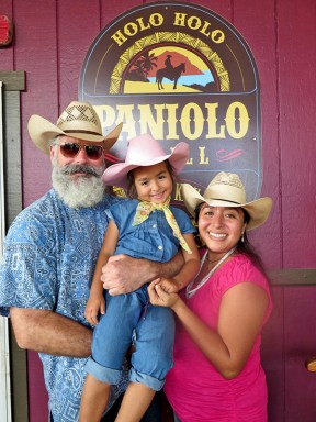 Holo Holo Paniolo Grill owners Bard Widmer and wife Tiki Morales-Widmer, with their daughter, Xochitl.