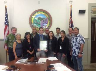 The Kaua'i County Council presents a certificate of recognition in honor of National Crime Victims' Rights.