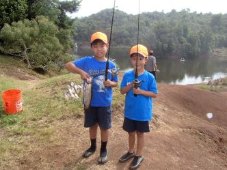 Rainbow trout fishing in the Koke'e Public Fishing Area. Photo courtesy DLNR