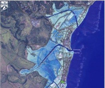 A map of Kapa'a shows flooding with 6 feet of sea level rise. Blue areas indicate water depth, with dark blue being the deepest. Green areas indicate low-lying areas not hydrologically connected to the ocean. NOAA/UH SeaGrant
