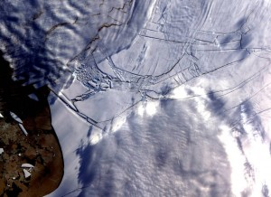 The Wilkins Ice Shelf in West Antarctica experienced several disintegration events in 2008. Credit: NASA/GSFC/METI/ERSDAC/JAROS and U.S./Japan ASTER