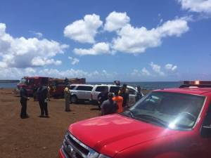 Multiple agencies responded to the scene of plane crash that occurred just outside of Port Allen Airport in Hanapēpē. Contributed photo