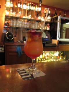 This is the Tropical Sunset, a drink of rum and tropical fruit juices. We also enjoyed a Cadillac Margarita. They make their own sweet and sour mix from the mountains of limes their customers bring in.
