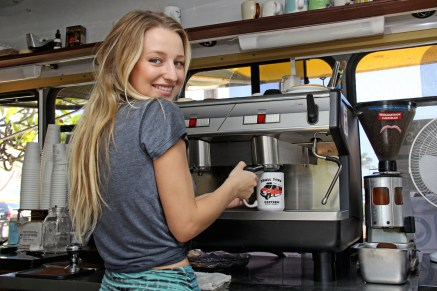 Charlotte Belliard makes a healthy and punchy espresso at Small Town Coffee in Kapa'a, Kaua'i's Eastside.