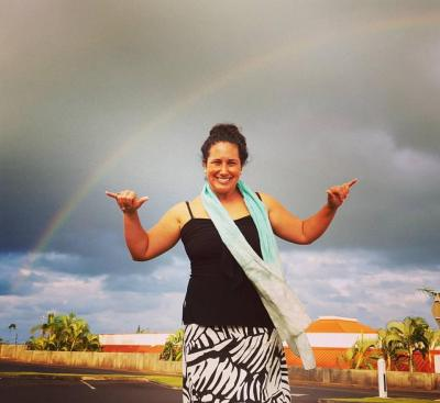 My friend Noe inspiring double rainbows in Lihu'e.