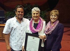 Barbara Bennett, For Kaua'i owner and publisher, is seen here with a certificate from the Hawai'i State Legislature for being the recipient of the 2016 Small Business Advocate in Media and Journalism, flanked by For Kaua'i editor in chief Léo Azambuja and Jane Sawyer, from the U.S. SBA, Hawai'i District Office in April. Photo taken at the State Capitol in Honolulu.