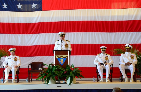 160812-N-SS432-029 BARKING SANDS, Hawaii (Aug. 12, 2016) - Captain Bruce Hay gives his opening remarks during the change of command ceremony. Hay is being relieved as commanding officer by Captain Vincent Johnson during the ceremony