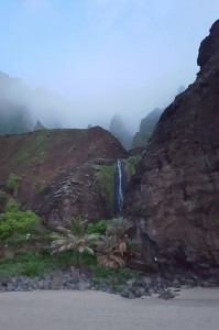 The waterfall at Kalalau Beach.