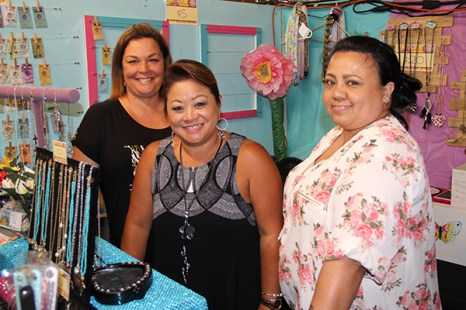 Left to right, Indissa Ornellas and Ann Yamamoto, of Heart to Pieces, and Maile Aki, of Mai's Jewelry