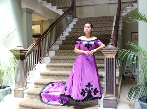 Barbara Green has been designing holokū for more than two decades. Here she wears one of her creations.