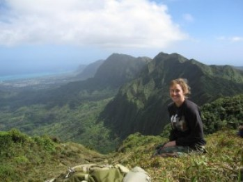 Botanist Dr. Maggie Sporck-Koeher working in the field at Ko'olau, O'ahu. Photo courtesy of NTBG