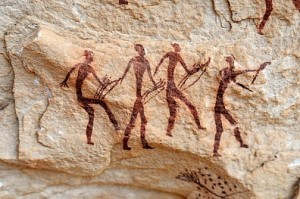 Prehistoric African rock paintings.