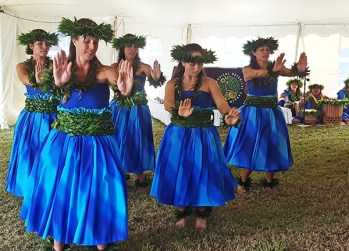 Dancers from kumu hula Sabra Kauka's hula halau are seen here performing at the opening of the Kaua'i Conservation Expo.