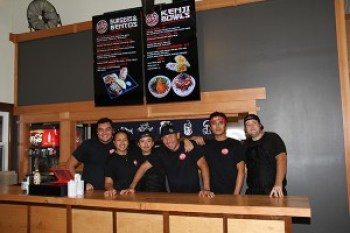 The staff at Kenji Burger is friendly, fast and efficient. Restaurant owner Erik Tanigawa is fourth from left.