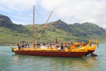 The Nāmāhoe is seen here on its inauguration Sept. 11 leaving Nawiliwili Harbor toward Kalapaki Bay, where it was greeted by hundreds. The double-hulled canoe was built following ancient Polynesian voyaging canoe design, but with modern materials.