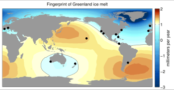 Sea level change resulting from Greenland ice melt. Black circles show best water level records.