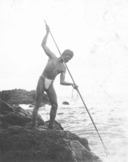 A Hawaiian fisherman with a spear, circa 1890. Bishop Museum