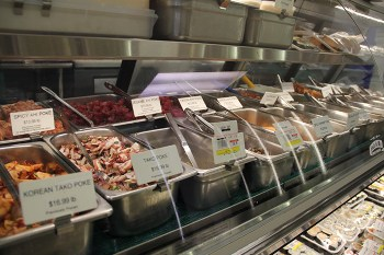 Pono Market in Kapa'a has probably the largest selection of poke types on the island on any given day. They also have a popular take-out lunch menu that changes daily.